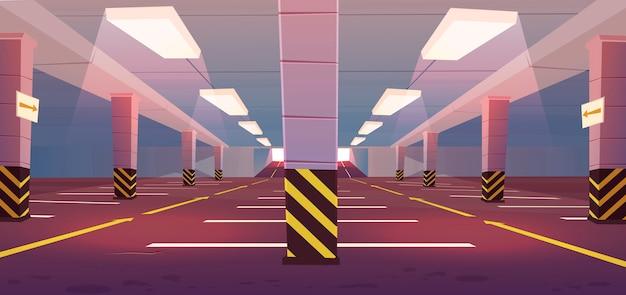 Vector de estacionamiento subterráneo vacío