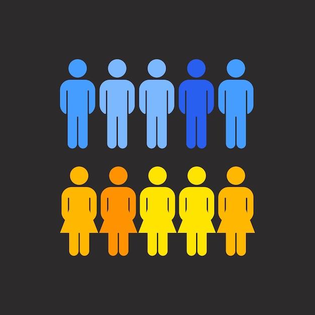 Vector de estadísticas de distribución de género corporativo