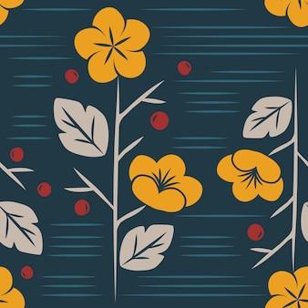 Vector de estampado de flores sin fisuras