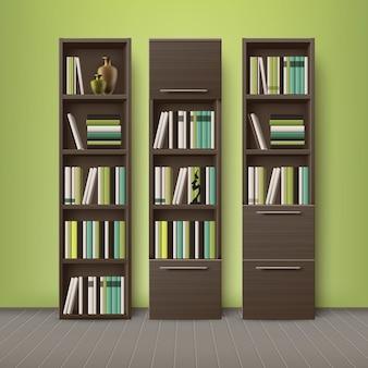 Vector estanterías de madera marrón, llenas de diferentes libros y decoraciones, de pie en el piso con fondo de pared verde oliva