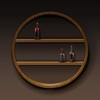 Vector estantes de madera redonda marrón con botellas de alcohol aisladas sobre fondo oscuro