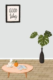 Vector de estilo de dibujo interior de casa mínima