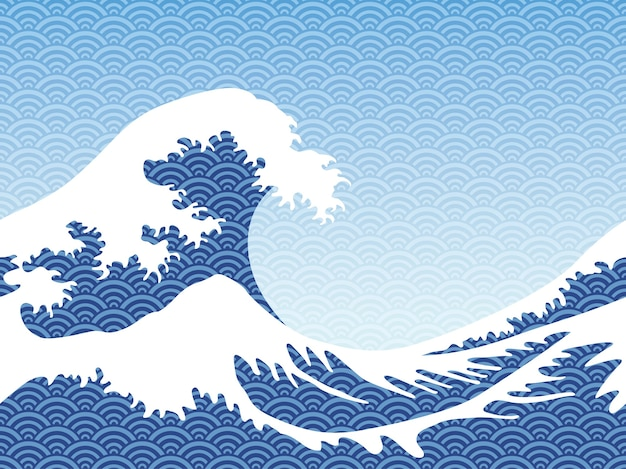 Vector de estilo hokusai sin fisuras grandes olas horizontalmente repetible