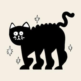 Vector de etiqueta engomada de halloween de gato negro, doodle dibujado a mano