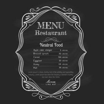Vector de etiqueta de marco dibujado a mano vintage de menú de restaurante de pizarra