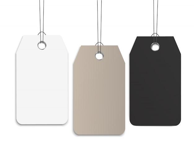 Vector de etiqueta de papel colgante en blanco