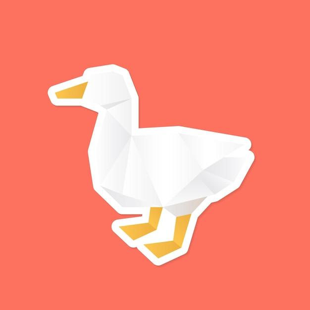 Vector de etiqueta de polígono de arte de papel de pato