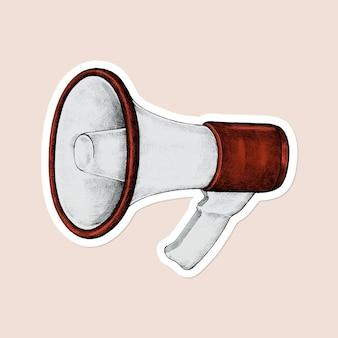 Vector de etiqueta vintage de megáfono de dibujos animados