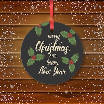 Vector etiqueta vintage de navidad con acebo dibujado a mano y cita hecha a mano