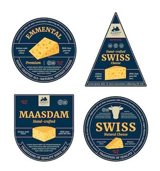 Vector de etiquetas de queso suizo y elementos de diseño de envases