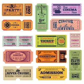 Vector de eventos de fiesta, cine, cine y música retro que pasan boletos establecidos