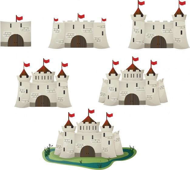 Vector de la evolución del castillo de dibujos animados para el juego.