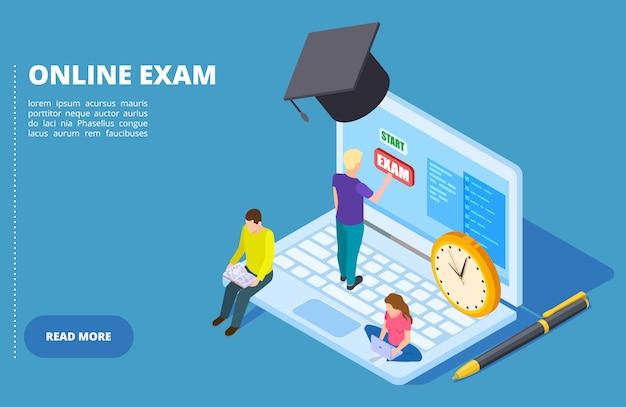 Vector de examen en línea isométrica. concepto de educación y examen en línea con estudiantes.
