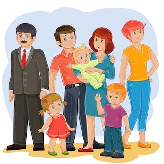 Vector familia feliz - abuelo, abuela, papá, mamá, hija, hijo y bebé