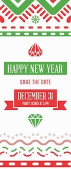 Vector feliz año nuevo o feliz navidad tema ahorre la fecha invitación a la fiesta