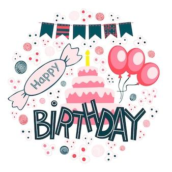 Vector feliz cumpleaños letras dibujadas a mano en marco, felicitaciones y deseos en globos dulces