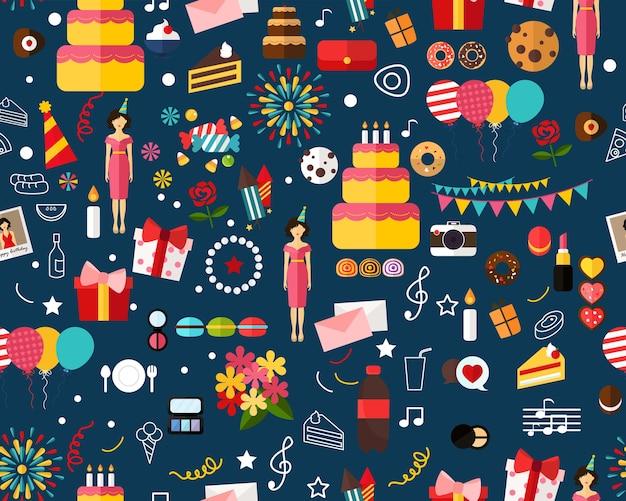 Vector feliz cumpleaños plano patrón inconsútil de la textura.
