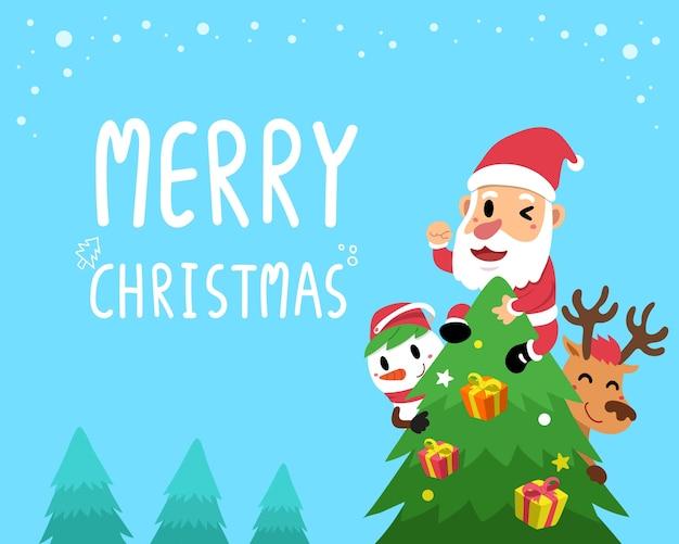 Vector feliz tarjeta de felicitación de los compañeros de navidad