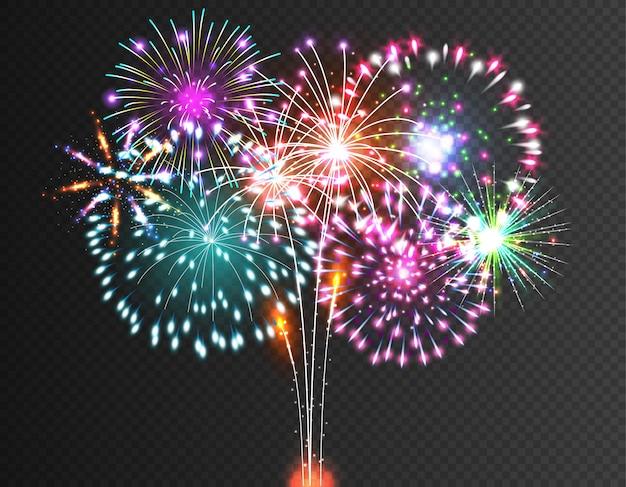 Vector festivo de fuegos artificiales