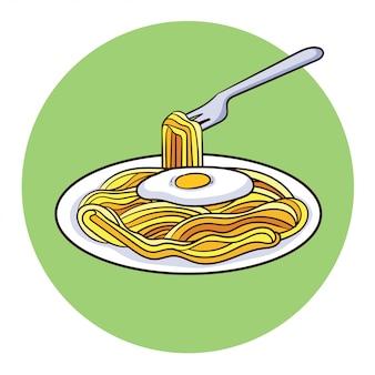 Vector de fideos fritos y huevos