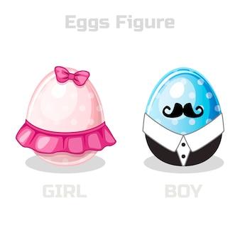 Vector de figura de huevos, dibujos animados de pascua niña y niño
