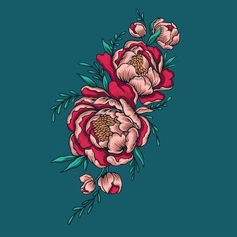 Vector de flor de peonías