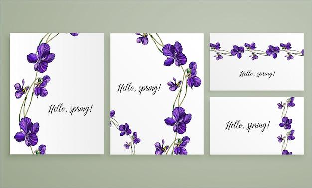 Vector floral conjunto de tarjetas de felicitación con flores violetas.