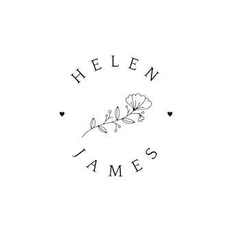 Vector floral del diseño de la insignia de la invitación de la boda