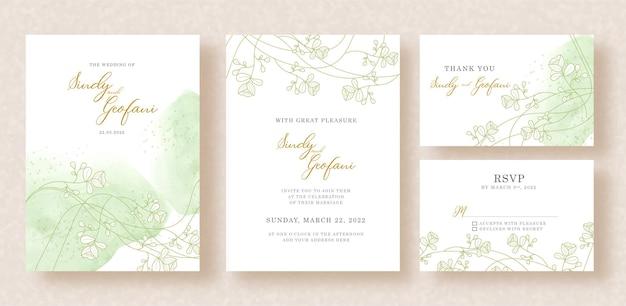 Vector floral dorado y fondo acuarela splash en plantilla de tarjeta de invitación de boda Vector Premium