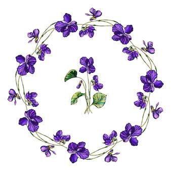 Vector floral guirnalda de flores violetas.