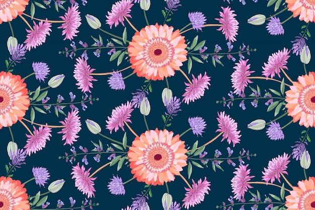 Vector floral de patrones sin fisuras. coloridos asteres otoñales, salvia, margarita dorada, crisantemo, zinnia en el campo de color morado oscuro. flores aisladas y hojas.
