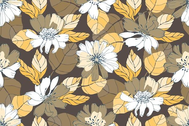 Vector floral de patrones sin fisuras. flores amarillas, blancas, marrones