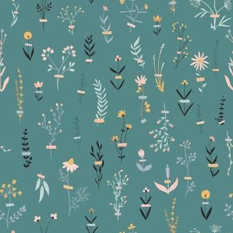 Vector floral de patrones sin fisuras con flores sobre un azul oscuro