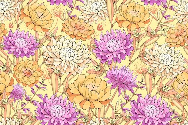 Vector floral de patrones sin fisuras