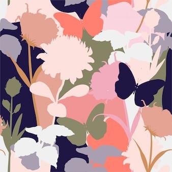 Vector floral de patrones sin fisuras.