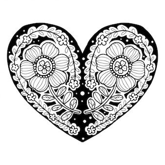 Vector de flores de garabatos de forma de corazón, día de san valentín. feliz día de san valentín.