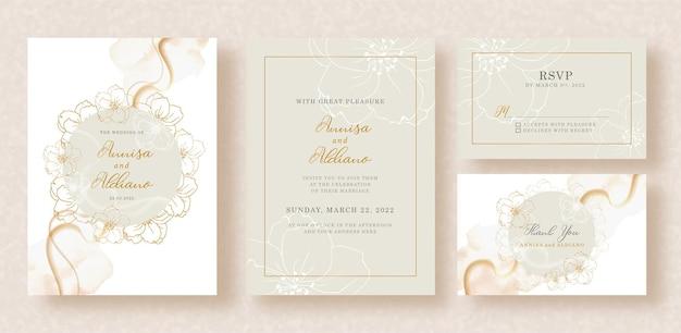 Vector de flores de guirnalda y acuarela de formas abstractas en invitación de boda