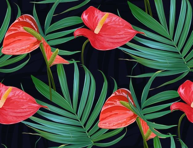 Vector de flores tropicales y hojas de palmera de patrones sin fisuras.