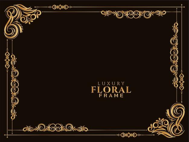 Vector de fondo abstracto marco floral dorado