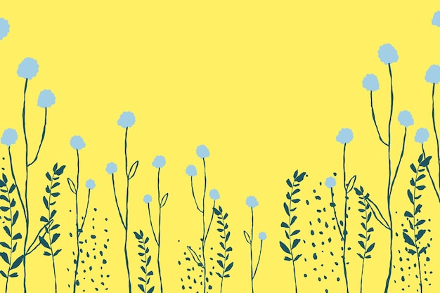 Vector de fondo de borde floral amarillo con doodle de flor de diente de león
