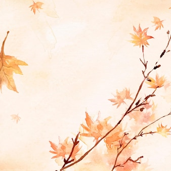 Vector de fondo de borde de hoja de arce en temporada de otoño acuarela naranja