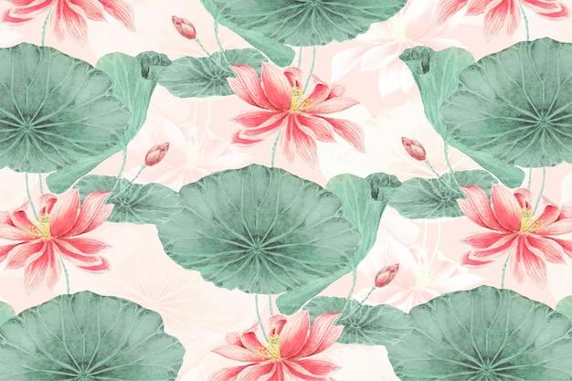 Vector de fondo botánico de patrón de loto, remezcla de obras de arte de megata morikaga
