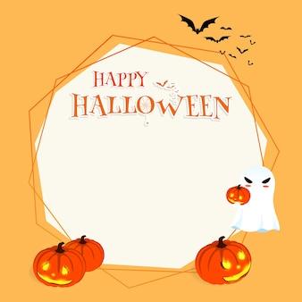Vector de fondo de calabaza de fantasma de dibujos animados de halloween feliz