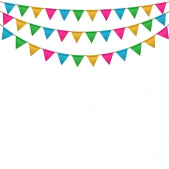 Vector fondo de carnaval con guirnaldas de bandera colgante