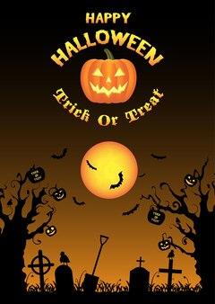 Vector de fondo de cementerio de halloween