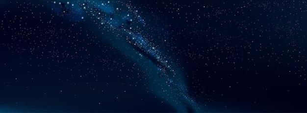 Vector fondo cielo estrellado y vía láctea
