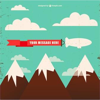 Vector de fondo con cielo y montañas