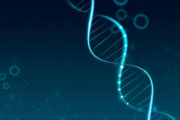 Vector de fondo de ciencia de biotecnología de adn en estilo futurista azul con espacio en blanco