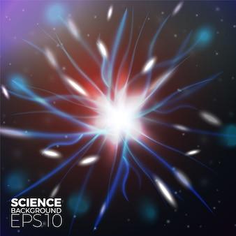 Vector de fondo científico con brillantes luces de electrones
