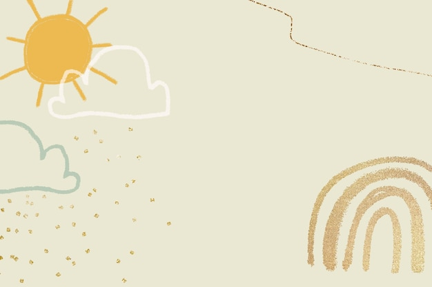 Vector de fondo de clima soleado en amarillo pastel con ilustración de doodle lindo brillante para niños